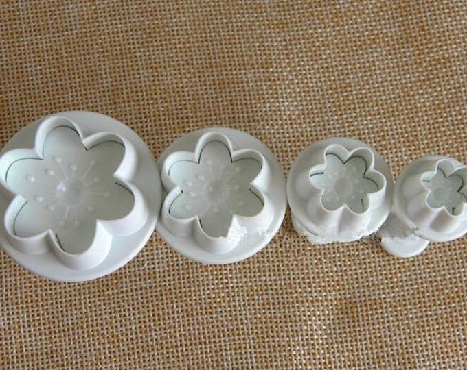 4 pc Peach Blossom Flower Cookie Cutter Plunger Mold Set - SLH183 Candy Fondant Cutter