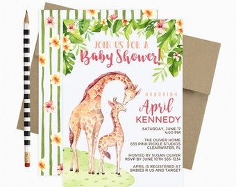 Giraffe Baby Shower Invitation / Giraffe Baby Shower / Giraffe Invitation / Printable Invitation / Giraffe Party / Baby Giraffe | 633