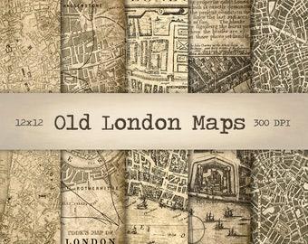 London Maps Digital Paper Instant Download, Vintage Background, Printable Old Street Map, Antique Texture, Scrapbook Paper, Collage Sheet