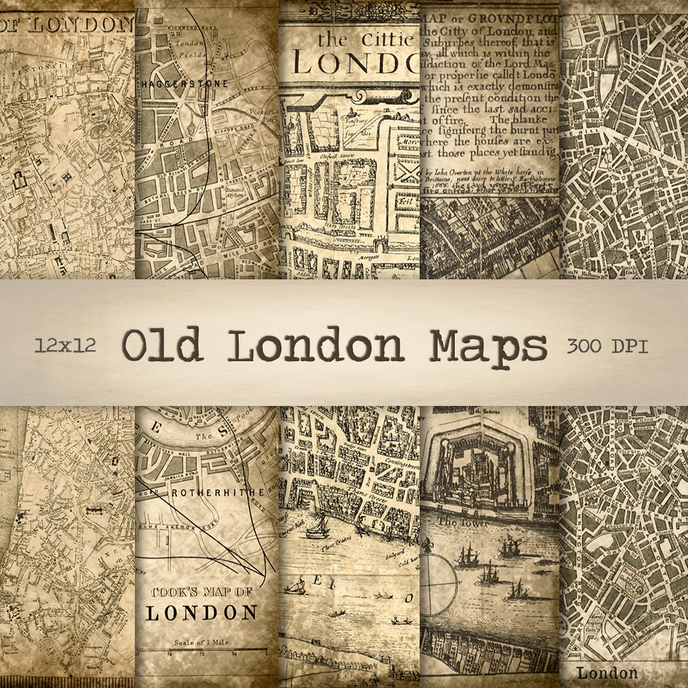 London Maps Digital Paper Instant Download Vintage
