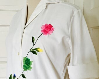 1950's Womens Vintage Hand Embroidered Roses Pink Yellow Green Blue Blouse Top Medium Large 8 - 10