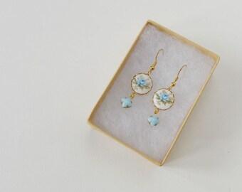 Blue rose dangle earrings, vintage rose drop earrings