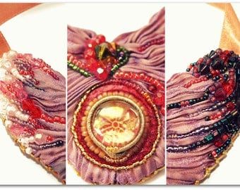 BURNING Hand-embroidered beaded necklace, HANDICRAFT
