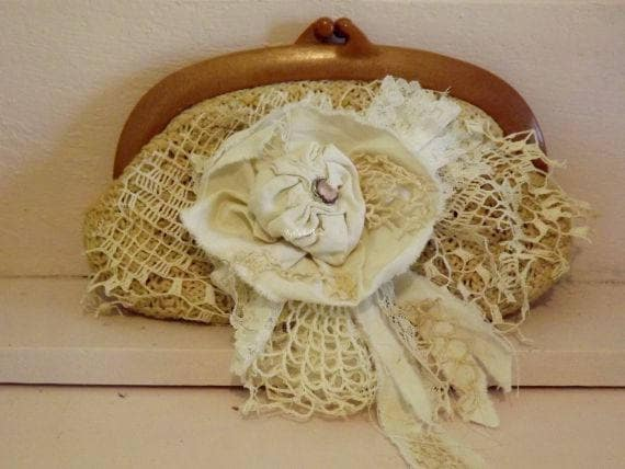 Victorian Inspired Vintage Crochet Clutch with TatteredRose UniquelyUpCycledRose Bohemian Shabby Couture