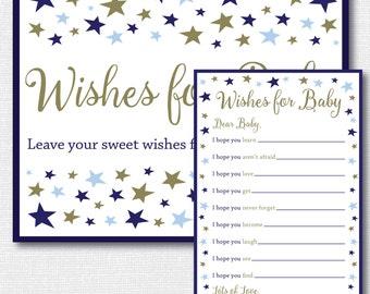 Boy Little Star Baby Shower Wish Card - Baby Shower or 1st Birthday Wish Cards - Star Baby Shower - INSTANT DOWNLOAD