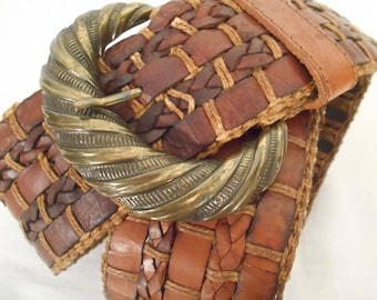 """Vintage Leather Belt - Woven Wide Belt with Brass Belt Buckle, Western Boho Womens Belt, 34""""  Brown Leather Accessory, Gift for Her"""
