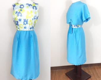 1960s Vintage Dress / Vintage 60s Dress / Cropped jacket / Blue / Jackie O