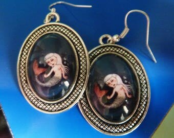 "Glass cabochon Earrings  ""Mermaid"""