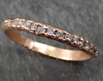 Raw Rough Uncut Diamond Wedding Band 14k Rose Gold Pink Diamond Wedding Ring byAngeline 0322