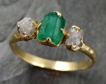 raw rough emerald conflict free diamonds 18k yellow gold ring one of a kind gemstone engagement - One Of A Kind Wedding Rings