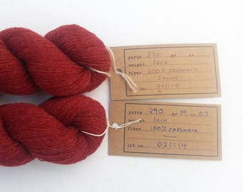 Destash Cashmere Lace Recycled Yarn, Two Skeins, 660 Yards, Brick Red