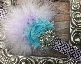 Lavender headband, turquoise shabby chic flower w/ light purple marabou and gorgeous rhinestone, girls headband, feather headband accessory
