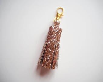 Rose Gold Glitter Tassel Keyring, Sparkly Rose Gold Tassel Charm, Rose Gold Glitter Keyring, Rose Gold Keychain, Tassel Charm, Rose Gold,