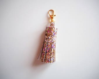 Pale Gold Rainbow Glitter Tassel Keychain, Pale Gold Glitter Keyring, Sparkly Tassel Charms, Sparkly Rose Gold Keyring, Stocking Fillers,
