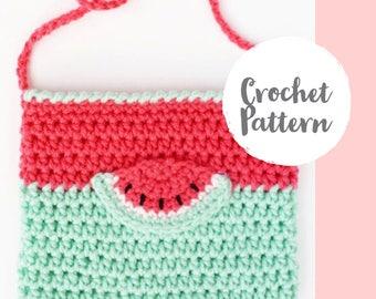 Crochet pattern - kids watermelon purse crochet pattern - watermelon bag - girls purse - dressing up - kids purse