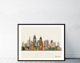 Cincinnati Ohio Skyline. Cincinnati Cityscape. Cincinnati City Skyline.  Colorful Pop Art Skylines For