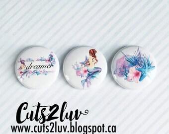 """3 Badges 1"""" Mermaid"""