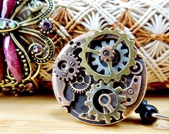Steampunk Badge Holder - Retractable Badge Reel - Clock Gear ID Badge Clip - Men's Badge Pull - Nurse Jewelry -  Male Nurse Gift