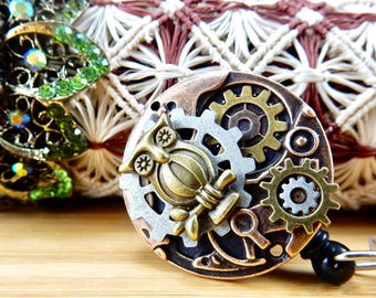 Steampunk Jewelry Badge Clip - Clock Gear Badge Holder - Retractable Badge Clip - Men's Badge Holder - Steampunk RN Gift - Nurse Jewelry