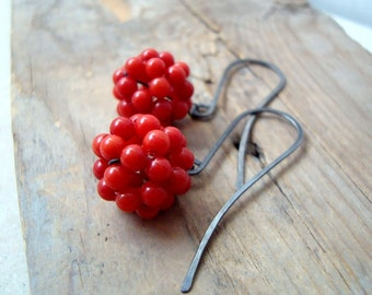 Red Coral Cluster Earrings Oxidized Sterling Silver Beachy Jewelry Boho Jewelry Holiday Brights Modern Metalworked Gifts Under 40