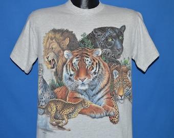 90s Wildlife Tiger Panther Lion Cheetah t-shirt Medium