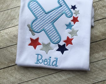 Fourth of July Applique Shirt - Personalized July Fourth shirt - Boys July Fourth shirt - Airplane shirt - Personalized Boy shirt - Applique