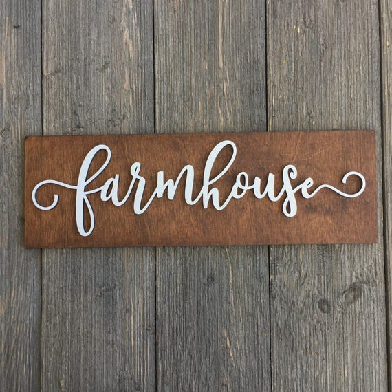 "SALE! Farmhouse Wood Wall Plank Sign, 14""W x 4.5""H, Wooden Sign, Rustic Home Decor, Farm Decor, French Country, Laser Cut Sign, Cute Gift"