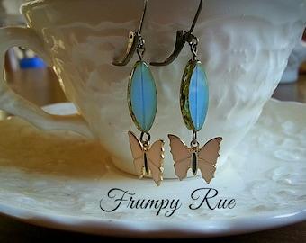 Mariposa, Vintage Butterfly and Mermaid's Tears Earrings