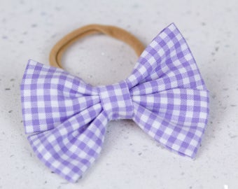 Purple Gingham Bow & Bow tie