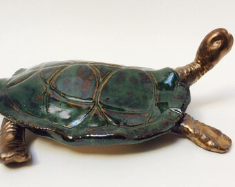 Handmade Ceramic Turtle - Swamp Green and Gold Glazes