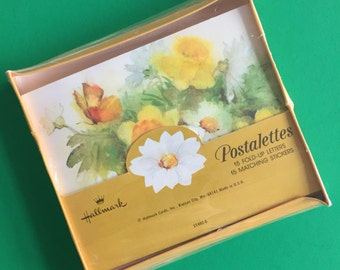 Vintage Hallmark Postalettes- Unopened Fold-up Letters and Stickers- Watercolor Flowers and Butterflies- Set of 15