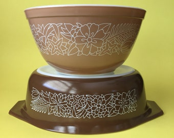 Vintage Pyrex 043 Brown Woodland Casserole Dish 1.5 Quart and 402 Light Brown Woodland Mixing Bowl