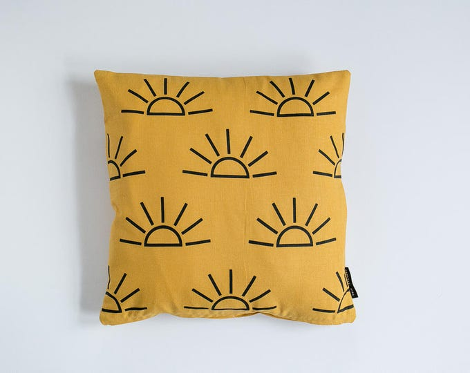 Sunrise Print Pillow - Mustard & Black - 16x16