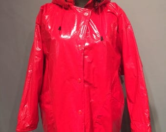 Red Rain Coat with Hood