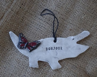 Alligator Ornament - Bonjour - Hello - Alligator - Butterfly - Alligator with butterfly - pottery - ceramic - ornament - Caiman - monarch