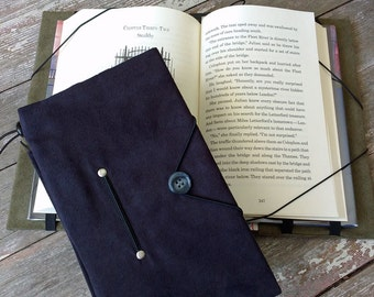 Hands free book holder, for taller mass market books; black microsuede book cover