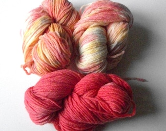 Speckled yarn, hand dyed mini skeins, merino worsted weight yarn, set of small skeins of merino worsted, 3 skeins, 120 yds 1.75 oz/skein