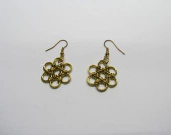 Chainmail Daisy Earrings - Double Gold