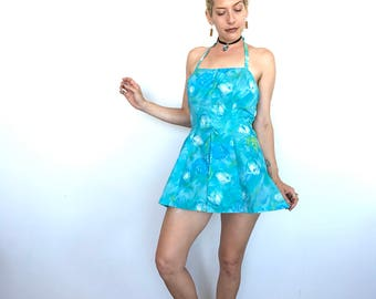1960s / blue floral / halter tie / zips up the back / pinup style / built in bloomers / bow detail
