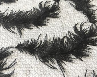 Feather Embroidered Organza Fabric