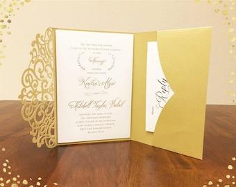 gorgeous laser cut wedding invitations pocket wedding die cut laser cut traditional metallic gold wedding invites - Gold Wedding Invitations