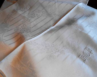 French Art Nouveau Meets Art Deco Rose and Scroll Tablecloth & 18 Napkins, c. 1930