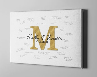 SALE 50% Off Monogram Canvas Guest Book, Elegant Gold Initial Guest Book Alternative, Unique Wedding Anniversary Gifts for Husband - CGB59