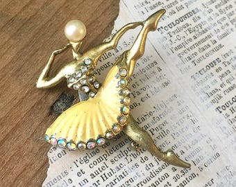 Vintage Ballerina Pin | Enamel Rhinestone Aurora Borealis | Metal Rhinestone Figural Pin Ballet Dancer Scatter Pin