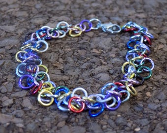 Multi-Color Shaggy Loops Chainmaille Bracelet