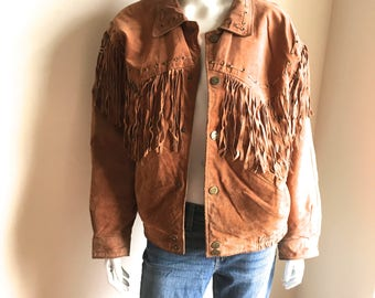 Vintage Leather Fringed Jacket / Brown suede bomber coat / Neutral territory / Boho Festival wear /country western/  Brass Snaps / Size M