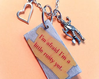 Wizard of oz jewelry, Wizard of Oz, Tin man jewelry, Tin man, movie quote jewelry, Wizard of Oz pendant, oz jewelry, oz