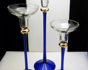 Set of 3 Cobalt Blue Crystal Candle Holders