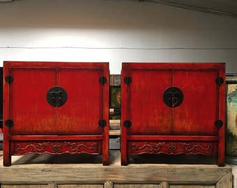 Pair of Antique Chinese Storage Cabinets in Lacquered Red  (Los Angeles)