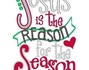 Jesus is the Reason for the Season Embroidered Shirt - Christmas Shirt - Girls Christmas Shirt - Boys Christmas Shirt